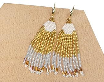 Gold-White - Waterfall Beaded Tassel Earrings