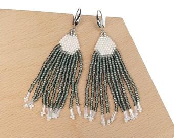 Anthracite-Grey - Waterfall Beaded Tassel Earrings