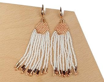 Rose-White - Waterfall Beaded Tassel Earrings