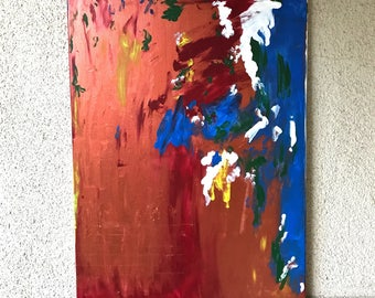 Abstract 18 x 24 in copper color splash blue white crimson yellow green
