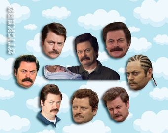 "Ron Swanson Expressions Sticker Pack 8 ct 2 x 1.5"" - Parks and Rec - Parks and Rec Ron - Ron Swanson Stickers - Ron Swanson Gift"