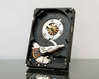 Black Hard Drive Clock, Small Desk Clock, Black Clock, Modern Clock, Unique Clock, Boyfriend gift, Computer Geek Gift, Computer Desk Clock