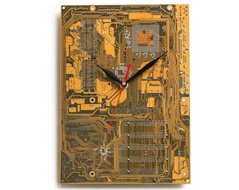 Circuit Board Clock, Dark Yellow Large Wall Clock, Unique Wall Clock, Modern Wall Clock, Unique Gift, Cool Gift, Industrial Wall Clock