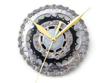 Bicycle Parts Wall Clock, Unique Gift Idea for Cyclist Boyfriend Husband Father Brother, Handmade Industrial Wall Decor, Anniversary Idea