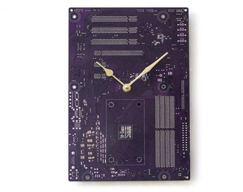 Dark Purple Large Wall Clock - Circuit Board Clock - Computer Clock - Unique Wall Clock - Unique Gift - Boyfriend Gift - Husband Gift