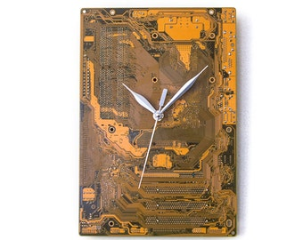 Modern Yellow Clock, Yellow Wall Clock, Circuit Board Clock, Unique Wall Clock, Unique Gift, Boyfriend Gift, Husband Gift, Industrial Clock