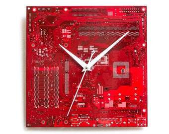 Dark Red Large Wall Clock, Red Circuit Board Clock, Dark Red Computer Clock, Unique Gift, Unique Wall Clock, Boyfriend Gift, Husband Gift