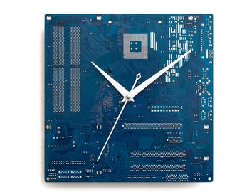 Blue Circuit Board Clock, Geek Wall Clock Unique Wall Clock, Large Wall Clock, Industrial Clock, Unique Gift, Boyfriend Gift, Husband Gift