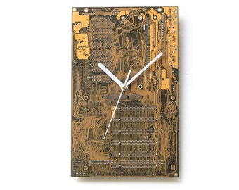 Large Yellow Wall Clock, Circuit Board Clock, Boyfriend Gift,  Unique Wall Clock, Unique Gift, Boyfriend Gift, Husband Gift, Tech Gift