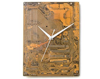 Large Yellow Wall Clock, Unique Gold Clock, Circuit Board Clock, Computer Clock, Unique Gift, Boyfriend Gift, Husband Gift, Industrial Clock