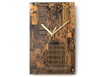 Dark Yellow Large Wall Clock, Office Clock, Wall Clock, Circuit Board Clock, Unique Wall Clock, Unique Gift, Boyfriend Gift, Husband Gift,