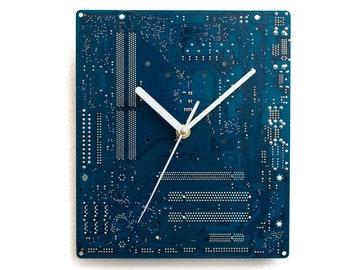 Boyfriend Gift - Husband Gift - Dark Blue  Large Wall Clock - Circuit Board Clock - Computer Clock - Modern Clock - Geek Wall Clock