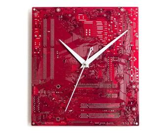 Large Red Wall Clock, Circuit Board Clock, Original Clock, Unique Gift, Boyfriend Gift, Husband Gift, Birthday Gift, Dad Gift, Geek Gift