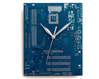 Modern Blue Clock, Geek Wall Clock, Boyfriend Gift, Husband Gift, Dark Blue Large Wall Clock, Circuit Board Clock, Computer Clock