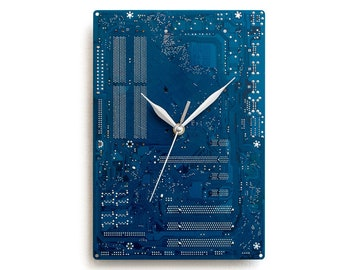 Dark Blue Large Wall Clock, Circuit Board Clock, Computer Clock, Modern Clock, Geek Wall Clock, Boyfriend Gift, Husband Gift, Office Decor .