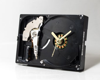 Computer Desk Clock - Recycled Hard Drive Clock - Industrial Clock - Unique Wall Clock - Unique Gift - Boyfriend gift - Husband gift