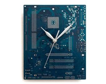 Circuit Board Clock, Dark Blue Wall Clock, Computer Clock, Modern Clock, Geek Wall Clock, Boyfriend Gift, Husband Gift, Industrial Clock