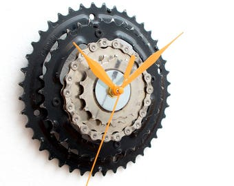 Bike Wall Clock, Steampunk Wall Clock, Cyclist Gift, Industrial Wall Clock, Modern Bicycle Clock, Unique Gift, Boyfriend Gift, Husband Gift