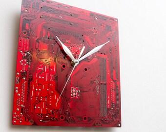 Dark Red Large Wall Clock - Circuit Board Clock - Original Clock - Unique Gift - Boyfriend Gift - Husband Gift - Birthday Gift - Dad Gift
