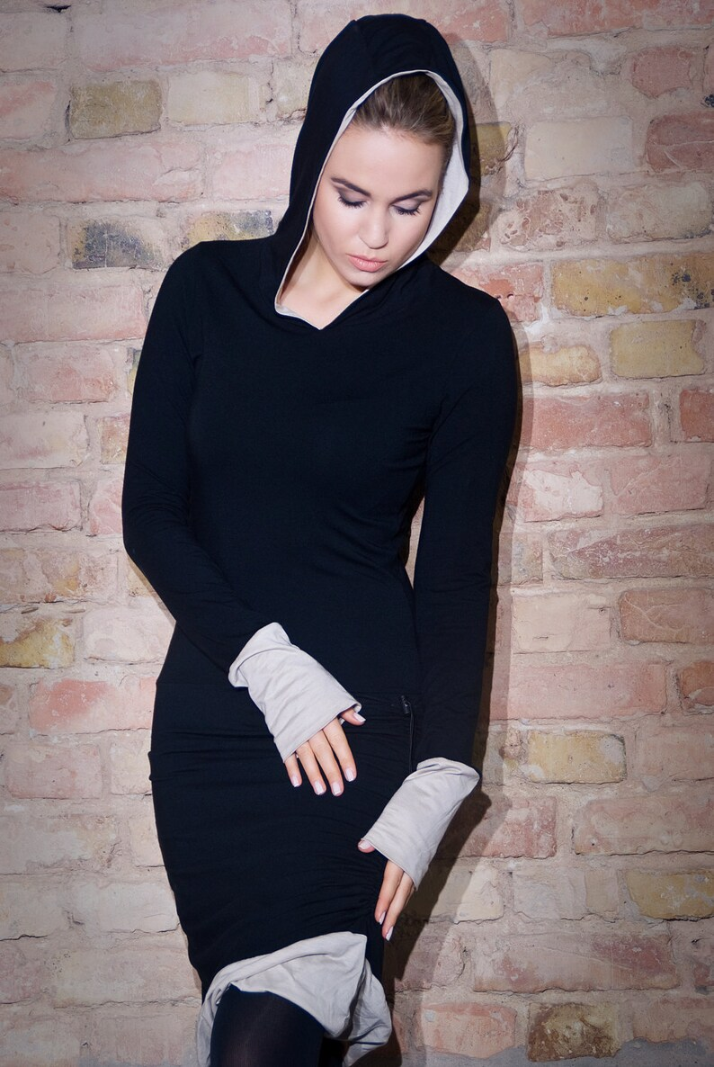 Black hoodie dress/hooded longsleeves dress in soft BIO GOTS image 0