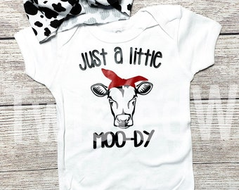 f2f35b80b Just a little MOO-DY / Cow Print / Summer / graphic tees / baby one piece/  t-shirt/ Infant / Toddler / Youth