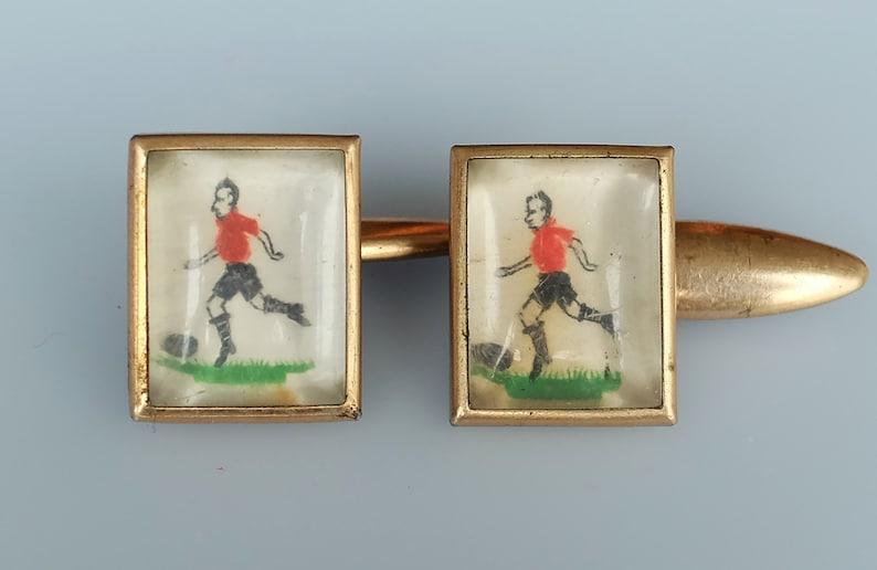 1930/'s Reverse Painted Intaglio Essex Glass Footballer cuff links