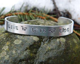 """Cuff Bracelet """"Live Love Ride"""""""