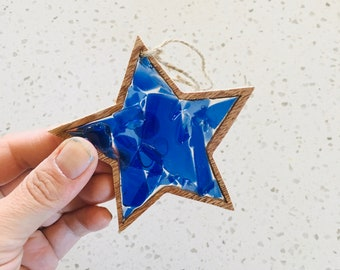 recycled art, present beach gift glass ocean beach shack coastal Glass clover ocean