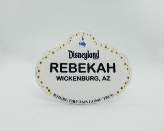 Customized Disneyland Name Tag, Disneyland Lapel Pin, Disneyland Badge, Disneyland Button, Disneyland Cast Member Name Tag