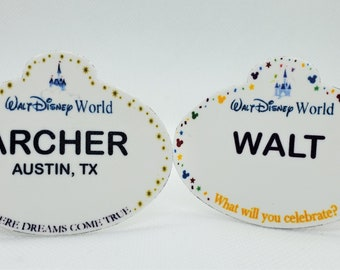 Customized Disney World Cast Member Name Tag, Disney World Lapel Pin, Disney World Badge, Disney World Button