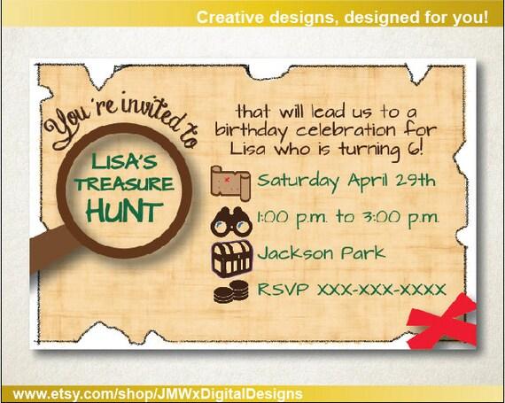 Schatzsuche Einladung Schnitzeljagd Geburtstagsfeier Etsy