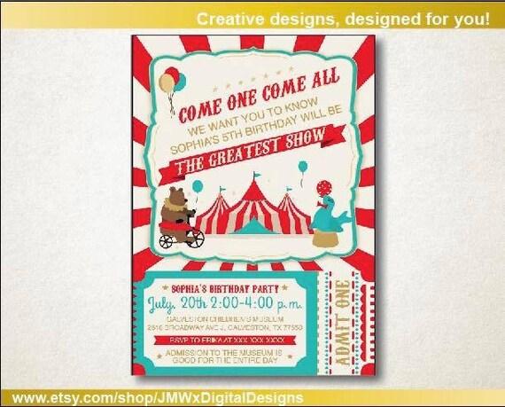 Magic Show Birthday Invitation Carnival Invitation Circus Birthday Party Magic Invitation