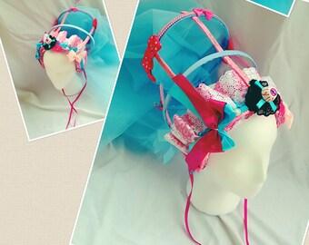 Zombie eyeball Headdress,Gothic lolita headdress,gothic headpiece,Alternative Headpiece,Tiara,Gothic anime Crown,pink and blue headdress