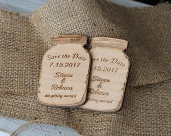 Save the Date Mason Jar Magnets-Cherry Wood Mason Jars-Personalized Laser Engraved Wood Mason Jar Magnets-Save the Date Magnets-Wood Mason