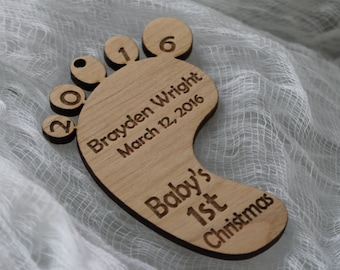 Personalized Baby's First Christmas Laser Engraved Natural Wood Ornament-Engraved Christmas Ornament-Footprint Ornament-Baby Footprint