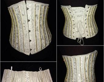 White And Gold Crystal Steel Boned Waist Cincher Corset. Burlesque Cabaret Vintage Wedding Bride Bachelorette Dance Costume