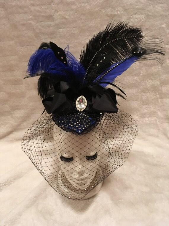 Royal Blue and Black Crystal Rhinestone Fascinator Hat.  223c4ae0eb7