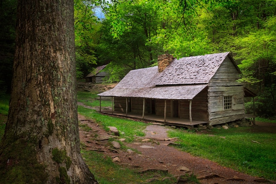 Rustic Cabin In Smoky Mountains National Park Appalachian Mountain Modern Rustic Green Fine Art Print Landscape Photography Tennessee