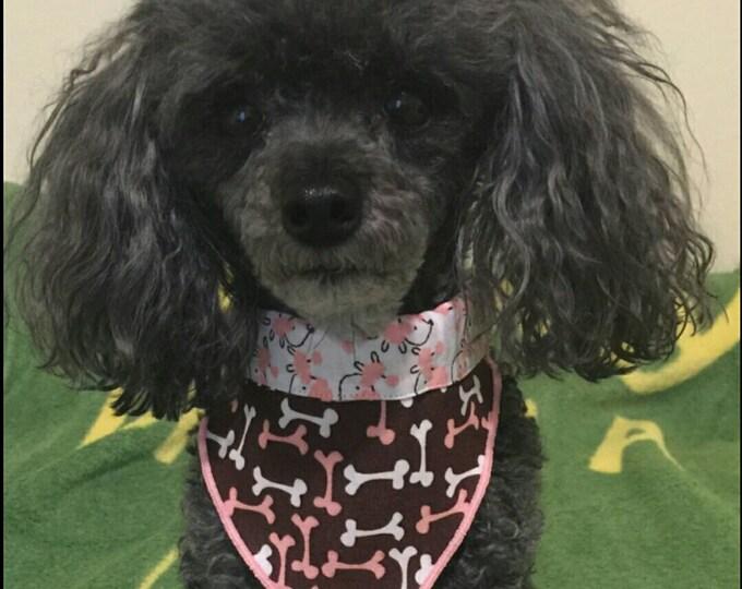 PET BANDANAS-Dog n' Cat-Pink Poodles n' Bones