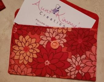 Business Card Holder-Orange n' Red Floral