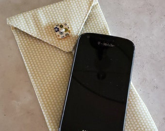 Cell Phone Case n' Eye Glass Case-Yellow, Blue n' Black Floral (Phone & glasses not included)