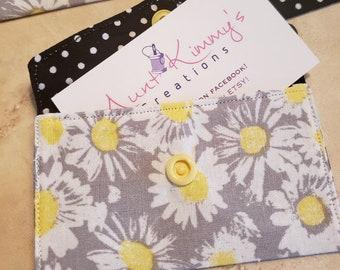 Business Card Holder-White Daisys n' Polka Dots