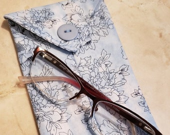 Cell Phone Case n' Eye Glass Case-Watercolor Baby Blue n' Floral (Phone & glasses not included)
