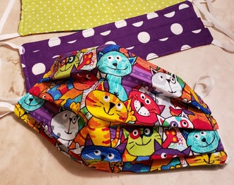 """Fabric Face Masks/Covering-Handmade, Reversible, Washable w/Nose wire-Happy Rainbow Cats (1/4"""" Elastic)"""