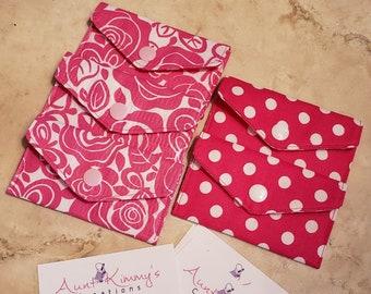 Business Card Holder-Hot Pink Floral n' Polka Dots