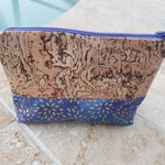 Natural Cork with Gold Swirls and Purple/Blue Fabric Cosmetic Bag