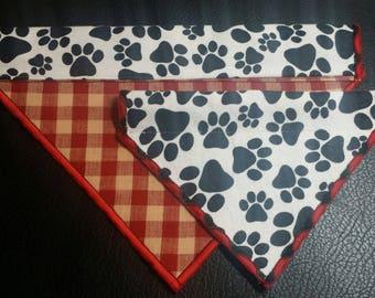 PET BANDANAS-Dog n' Cat-Dog Paw Print n' Red Plaid