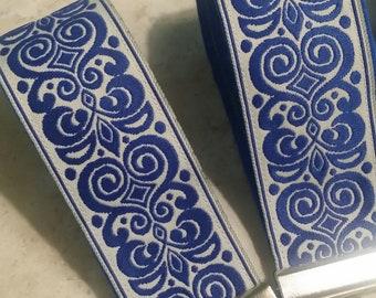 Key Chains-Key Rings-Key Fobs-Royal Blue n' Cream Damask