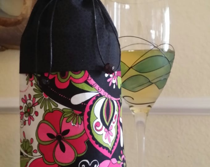 Wine Bag-Deluxe-Flower Power Collection (Hot Pink n' Black)