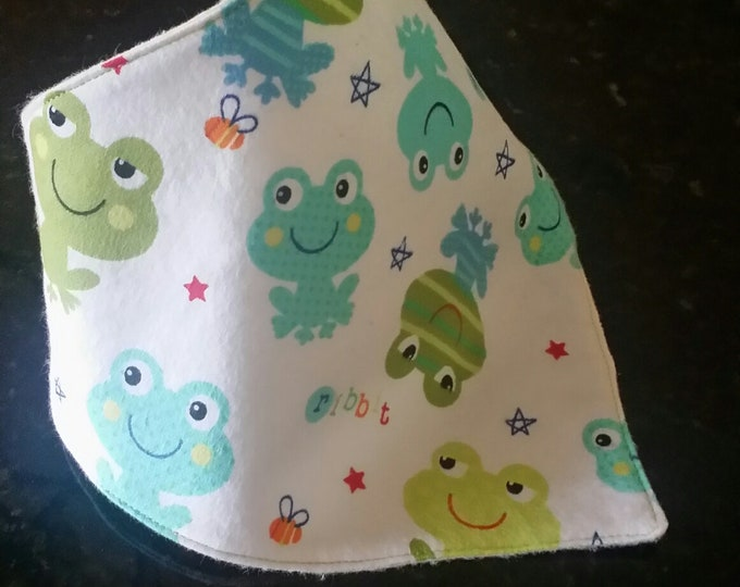 Baby Drool Bib Bandana-Green n' Blue Frogs
